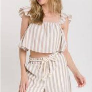 NWT English Factory Striped Top & Ruffle Sleeves